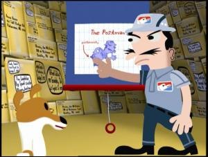 Olive and the Postman in the Postman's big musical number, 'Christmas, Bah Buggenhum.' COPYRIGHT 20th Century Fox 1999.